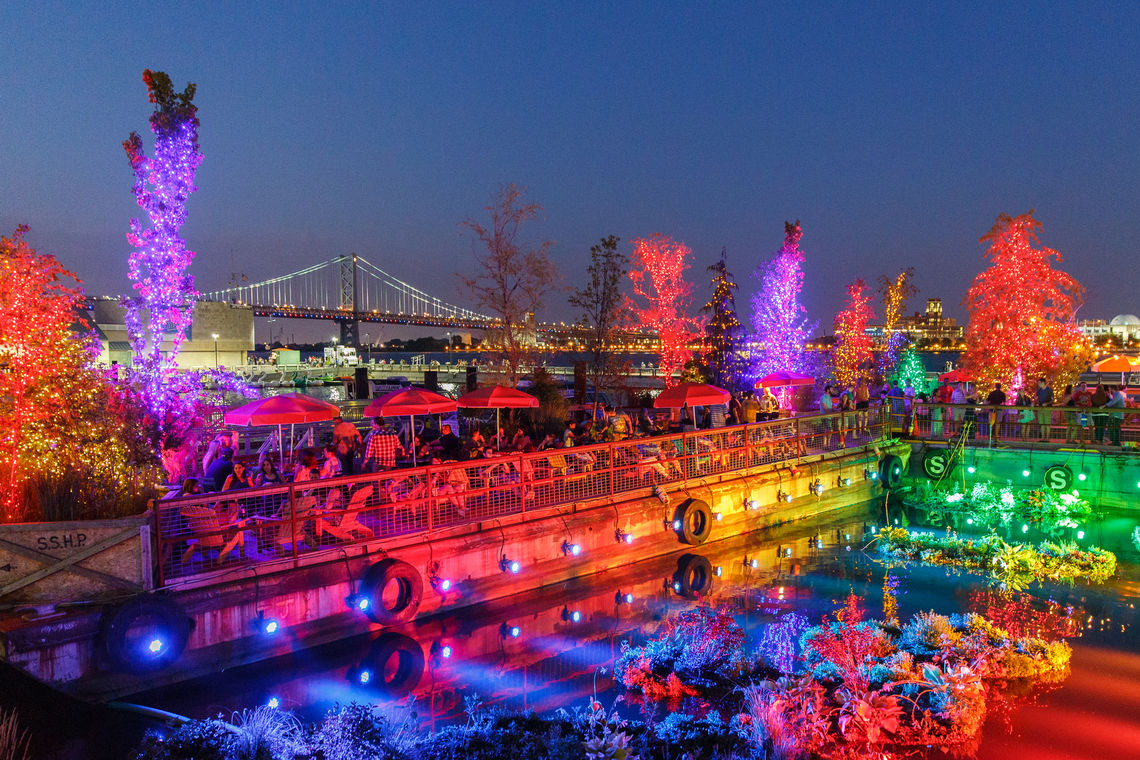 SSHP Floating Barges at Night