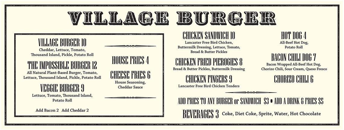 village burger menu large menu 103018