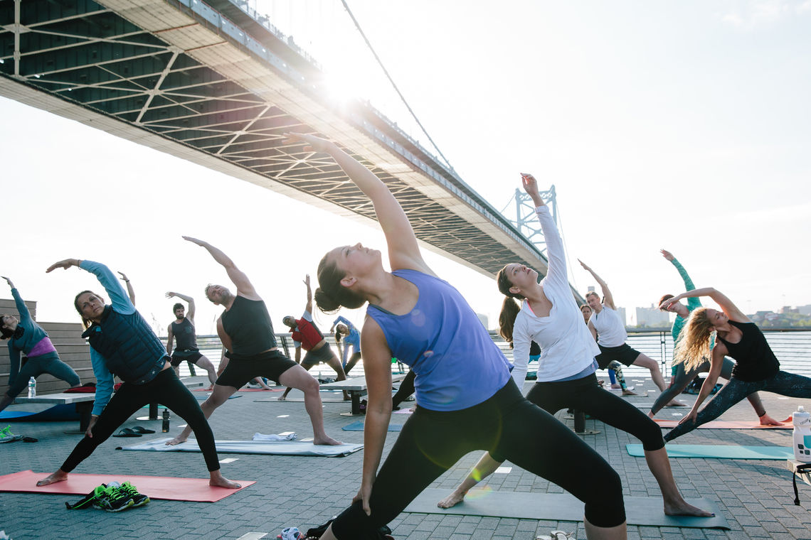 Catching the sun at Race Street Pier Yoga