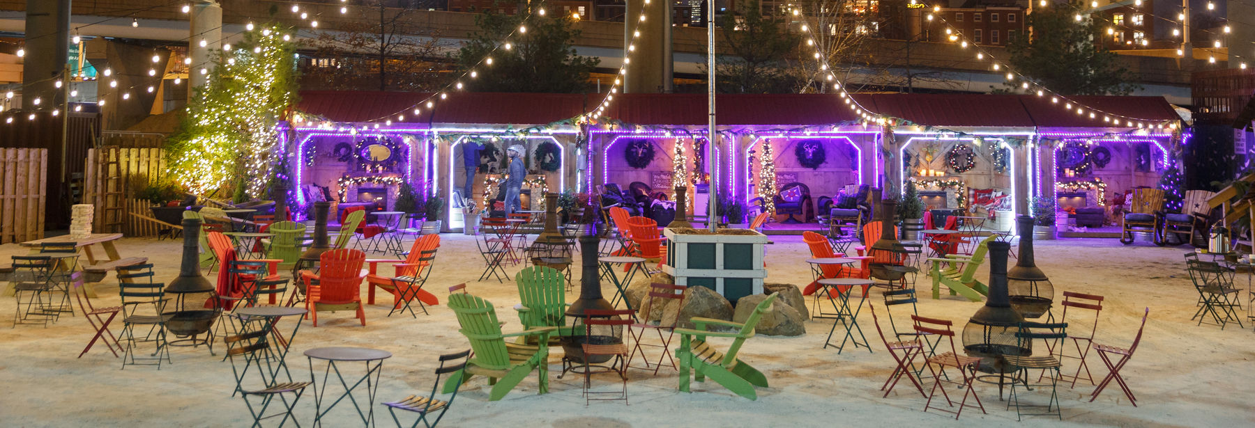 Fire Pits and Winter Warming Cottages at Blue Cross RiverRink Winterfest