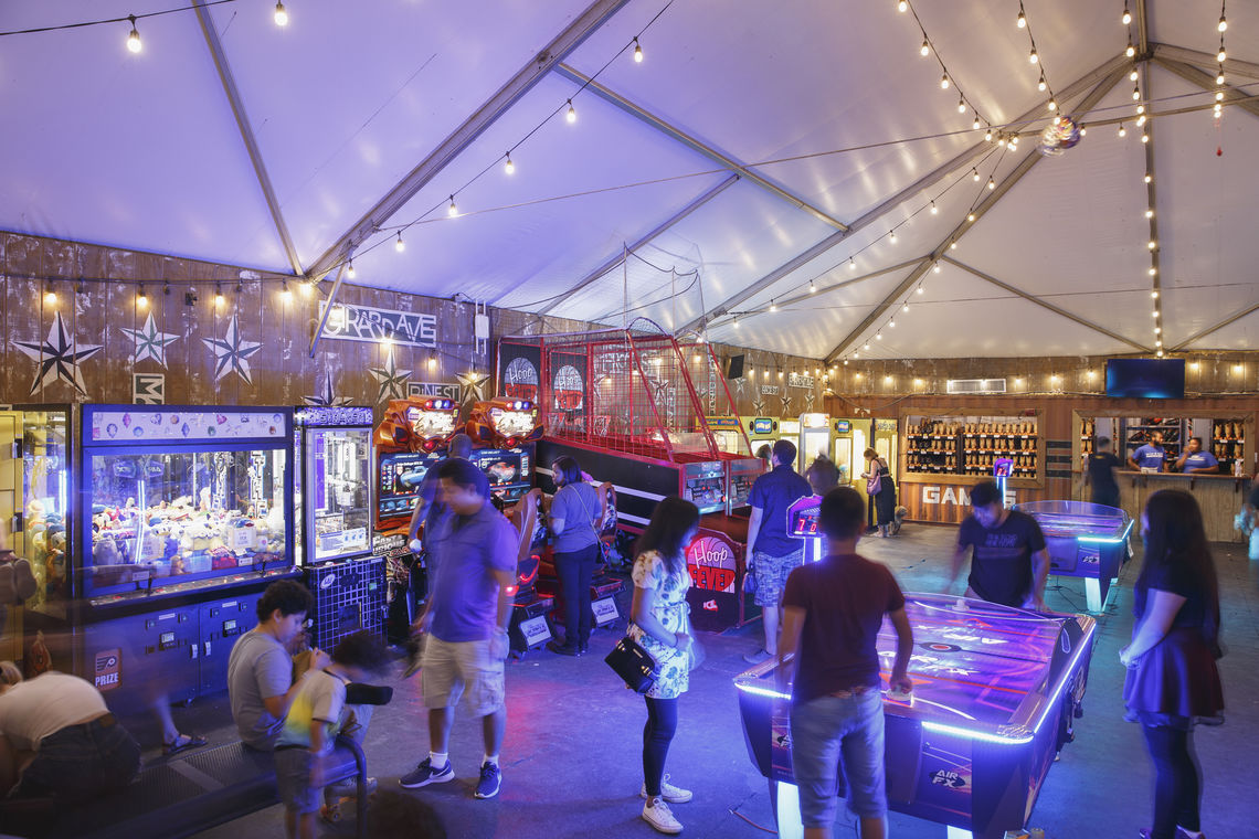 The arcade and skate rental at Blue Cross RiverRink Summerfest