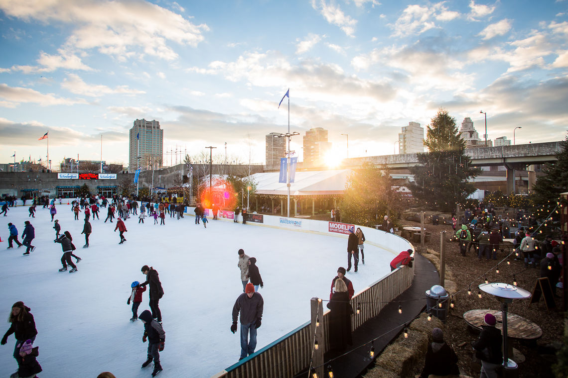 The Sun Sets Over Blue Cross RiverRink Winterfest