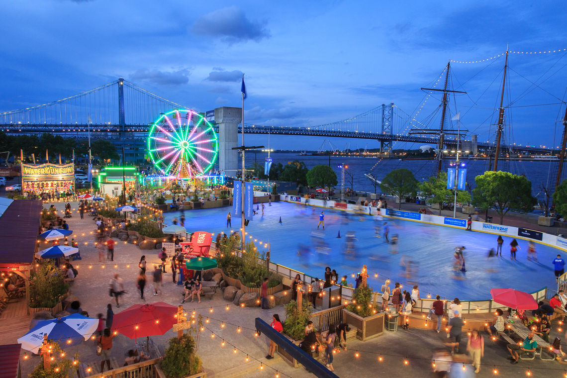 Nighttime at the Midway at Blue Cross RiverRink Summerfest