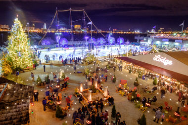Blue Cross RiverRink Winterfest at Night