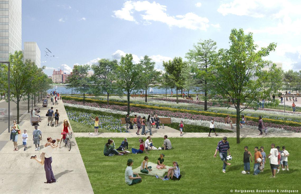 Penn's Landing Park from Chestnut Street