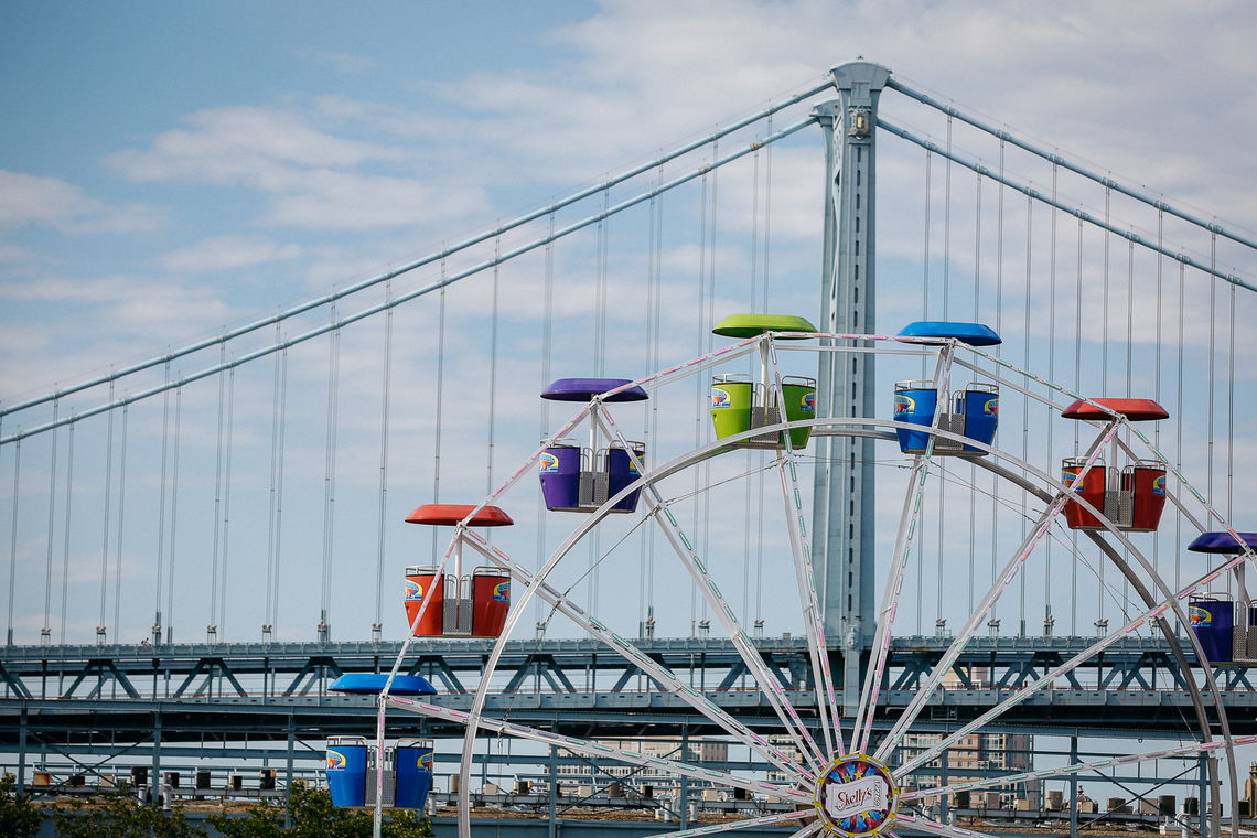 The Ferris Wheel and the Ben Franklin Bridge