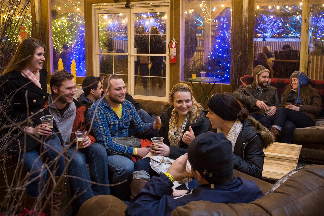 Grab a drink at Blue Cross RiverRink Winterfest