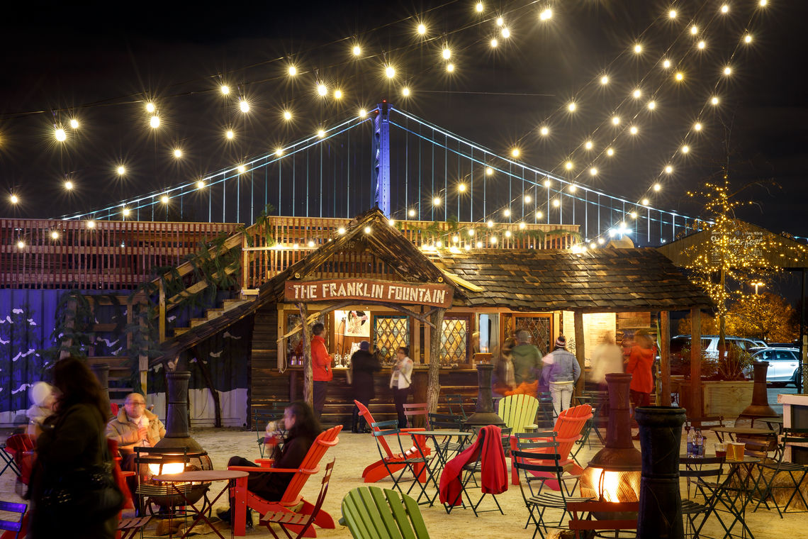 Fire Pits and the Franklin Fountain Confectionery Cabin at Blue Cross RiverRink Winterfest