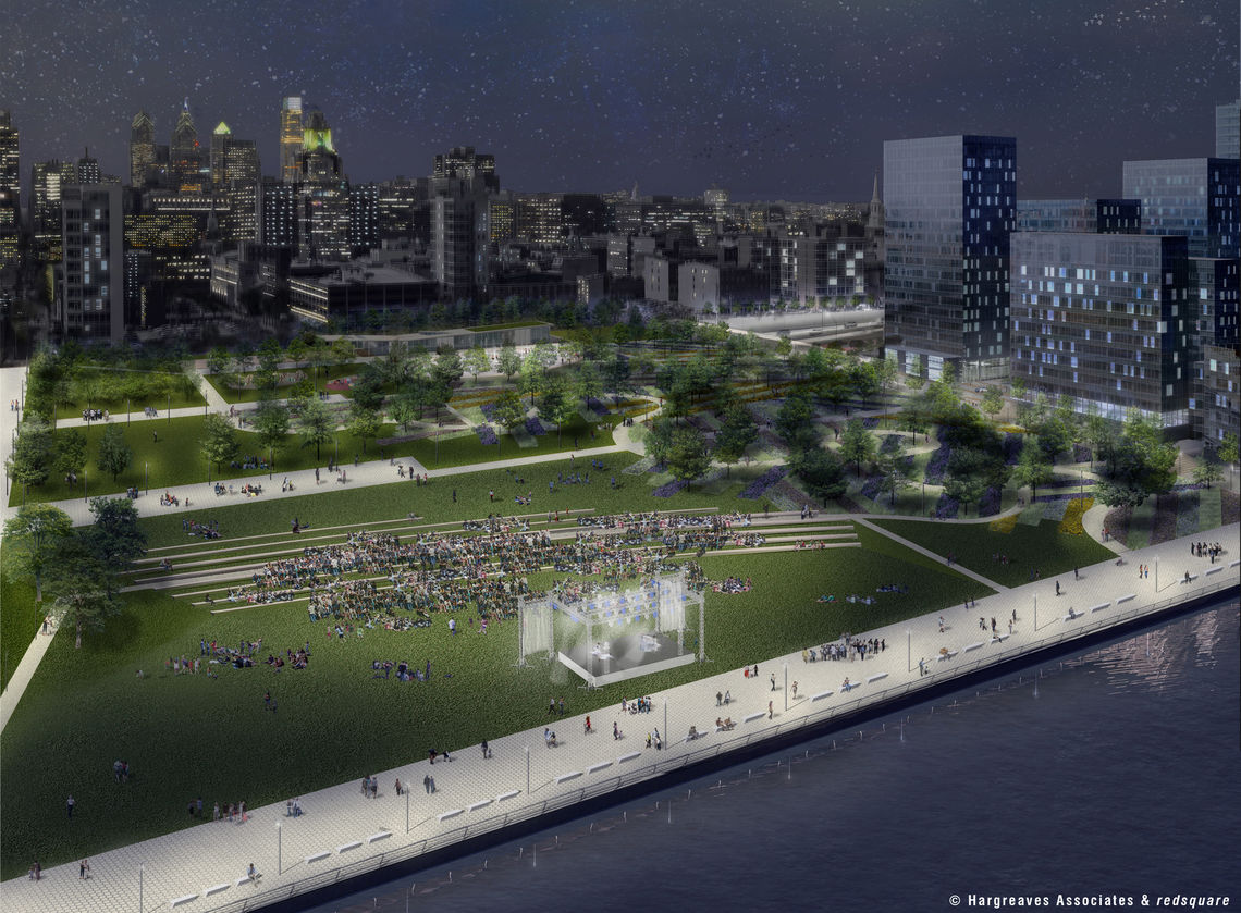 Penn's Landing Cap and Civic Space Looking West (night)