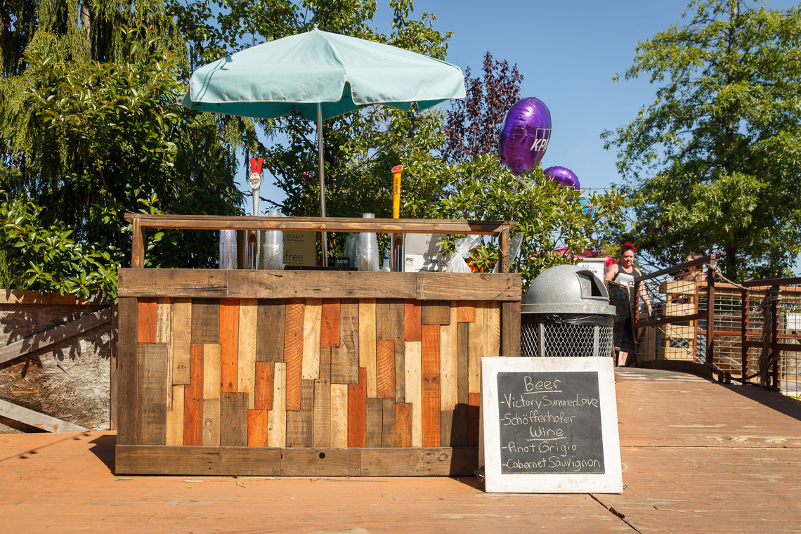 The bar for private rentals on the north barge at Spruce Street Harbor Park